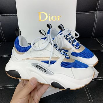 DIOR 2020 new couple stitching color casual sneakers
