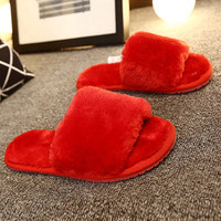 2016 New Winter Warm Cute House Slippers Women Indoor Fashion Furry Sheepskin Slippers  Home Slippers  Shoes Plus Size 35-41 P3