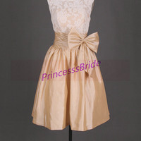 2014 knne length bridesmaid gowns,short champagne taffeta and ivory lace dress,cute dresses for wedding party hot.