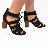 Sights In The City Lace-Up Heels Black