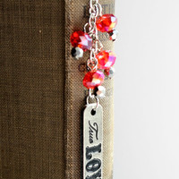 """Red and Silver """"True Love"""" Beaded Bookmark - Handmade Bookmark - Ready to Ship"""