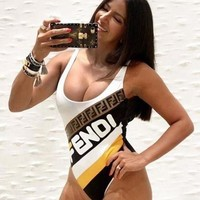 "Hot Sale ""FENDI"" New Fashionable Women Print Vest Type Backless One Piece Bikini Swimsuit Bathing"