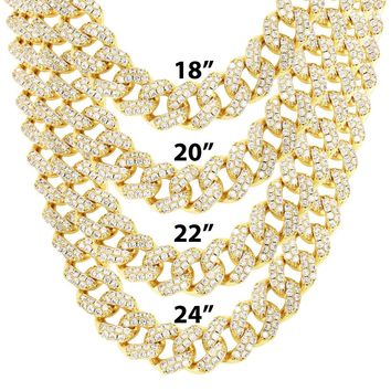 """Gold Finish Iced out 15mm 18""""-24"""" Cuban Choker Chain"""