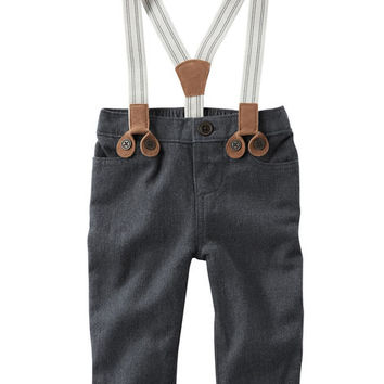 Suspender Herringbone Pants