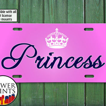 Pink Princess Crown Cursive Script Cute Gift Accessory For Front License Plate Car Tag One Size Fits All Vehicle Custom