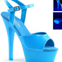 Neon Blue Ankle Strap Sandle With 6 Inch Heels-Rave Shoes