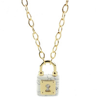 Shiny Gift New Arrival Jewelry Stylish Fashion Accessory Strong Character Lock Style Turquoise Pendant Ladies Necklace [4956876420]