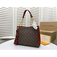 Louis Vuitton LV Fashion Women Monogram Check Leather Shopping Shoulder Bag Handbag 36*25*11cm