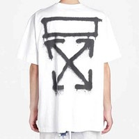 OFF White Men Women Print Short Sleeve Cotton T-Shirt Top Blouse