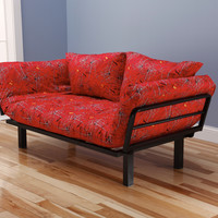 Hennepin Contemporary Daybed Futon Lounger with Black Metal Steel Frame, Includes Two Pillows