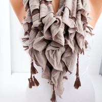 New- Gift- Brown and  Milky Brown Triangle Curly Shawl / Scarf