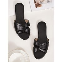Croc Embossed Cross Strap Slide Sandals