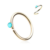 Gold Teal Opal Bendable Nose Ring Nose Hoop  20ga Body Jewelry Steel