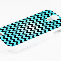 Stylish Teal and Whte Chevron Samsung Galaxy S4 + S3 Rubber Case and S2 NOTE 2 Hard Cover Case