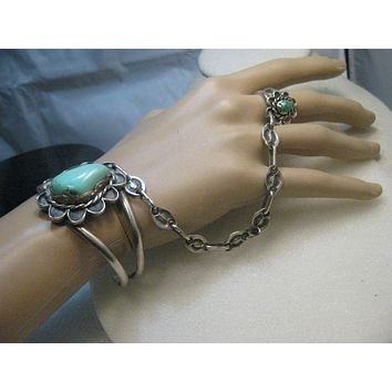Vintage Southwestern/Native American Turquoise Cuff Bracelet and Ring Combo - Harness/Tether