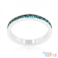 Stylish Stackables With Turquoise Crystal Ring (size: 10)