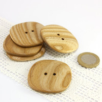 Large wooden buttons - Set of 5 ash wood buttons - 1.7in (43mm) - Natural wood buttons - Handmade buttons (S9600)