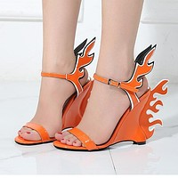 New high-heeled summer women's shoes with large-sized white shoes and flaming sandals Orange