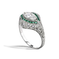 Vintage Collection Diamond and Emerald Ring | William & Son