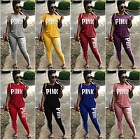 Pink Letter Print Tracksuits Women Two Piece Set Spring Street t-shirt Tops and Jogger Set Suits Casual 2pcs Outfits