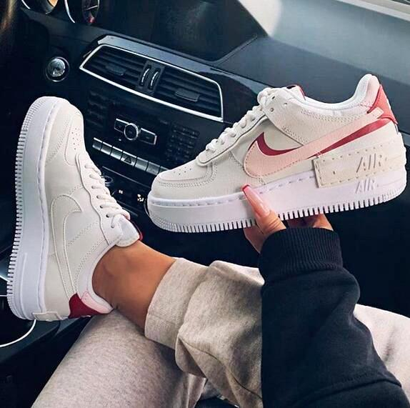 Image of Nike Air Force 1 Shadow Retro Women Casual Sport Running Shoes Sneakers Apricot&Pink&Red