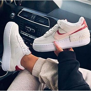 Nike Air Force 1 Shadow Retro Women Casual Sport Running Shoes Sneakers Apricot&Pink&Red