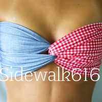 Denim and Plaid Bandeau Top Spandex Bandeau Bikini
