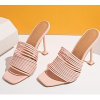 Women Fashion Open Toe Slide On High Heel Sandals