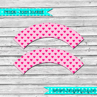 Pink Heart Cupcake Wrappers - DIY Printable Patterned Cupcake Wraps –  Valentine's Day cupcake wrappers -  INSTANT DOWNLOAD