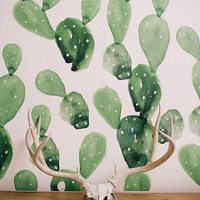 Watercolor Cactus - Large Wall Mural, Watercolor Mural, Wallpaper