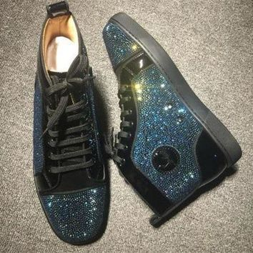 DCCK2 Cl Christian Louboutin Rhinestone Style #1940 Sneakers Fashion Shoes