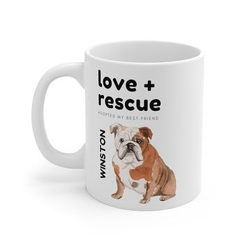 love + rescue Mug — English Bulldog