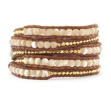 Leather Wrap Bracelet Graduated Pearlescent Goldtone Beads 34 inches 5 Wraps