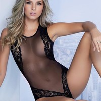 Sheer Mesh Lace Bodysuit By Mapale