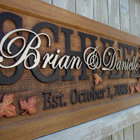 Autumn leaves / Anniversary gift / Wedding gift / Personalized Carved Wooden Plaque