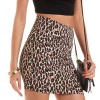 Leopard Print Bodycon Mini Skirt by Charlotte Russe - Brown Combo
