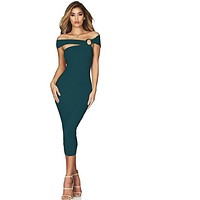 Off Shoulder Celebrity Runway Party Dress Sexy Hollow Out Club Dress