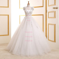 Sweetheart Delicate Appliques Lace-Up Back Floor Length beach Wedding Dresses/Long Wedding Dresses/Wedding Gown/Bridal Dress/X105