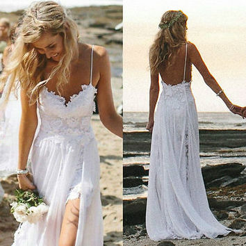 Sexy Beach Bride Evening Party Prom Wedding Dresses Backless Lace stock :6-16