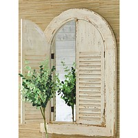 Distressed Arched Shutter Door Mirror -- 44-in