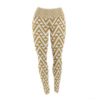 "Amanda Lane ""Geo Tribal Mustard"" Yellow Aztec Yoga Leggings"