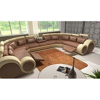 Italian Carved Luxurious U Shaped Leather Sectional Sofa Set