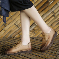 Lace Up Retro Handmade Genuine Leather Shoes
