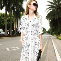White Dog Graphic Long Sleeved Out-Wear Maxi Shirt Dress