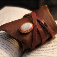 Leather Cuff Wrap Bracelet and Macrame Rainbow Moonstone Semi Precious Stone Bracelet - Hippie Style (Stone for Fortune and Passion)