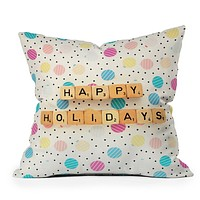Happee Monkee Happy Holiday Baubles Throw Pillow