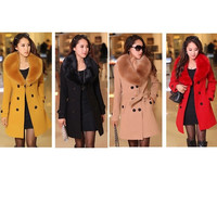 Hot Sales Autumn/winter women's Double Breasted big fur collar Plus Size M-4XL Wool Coat long Winter Jackets parka coats Outerwear good quality = 1931844164