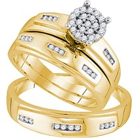 10kt Yellow Gold His & Hers Round Diamond Cluster Matching Bridal Wedding Ring Band Set 1/3 Cttw 92273