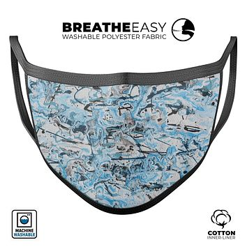 Abstract Wet Paint Teal - Made in USA Mouth Cover Unisex Anti-Dust Cotton Blend Reusable & Washable Face Mask with Adjustable Sizing for Adult or Child