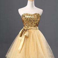 Sweetheart Sex Tulle ruffled dark yellow beading evening dress cocktail/prom/pageant dress for wedding party and homecoming